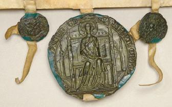 Duisburger Stadtsiegel an einer Urkunde von 1546; Foto: Stadtarchiv Duisburg