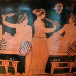 Kottabosspieler mit Aulosbläserin. Attisch-rotfiguriger Glockenkratér des Nikias-Malers, um 420 v. Chr. Foto: Marie-Lan Nguyen