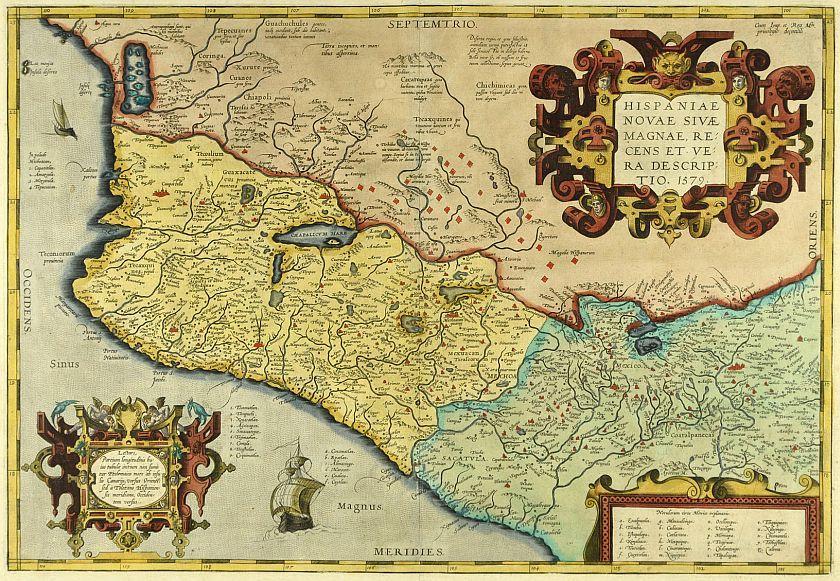"Karte von Abraham Ortelius ""Hispaniae Novae...."", 1579"